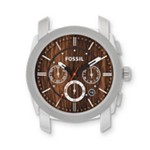 Fossil Machine Stainless Steel Watch Case Wood Print