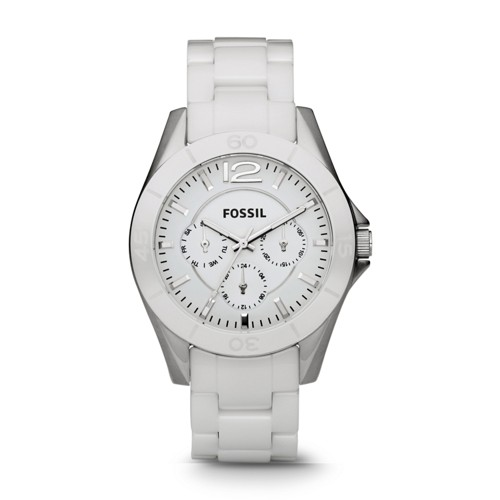 Fossil Riley Multifunction Ceramic Watch - White - CE1002