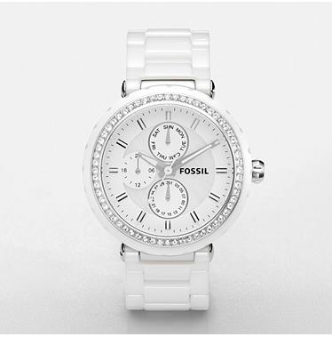 Fossil CE1008, White Multifunction Ceramic Dial