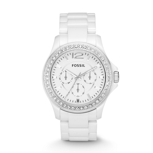 Fossil Riley Multifunction Ceramic Watch - White with Stones - CE1010