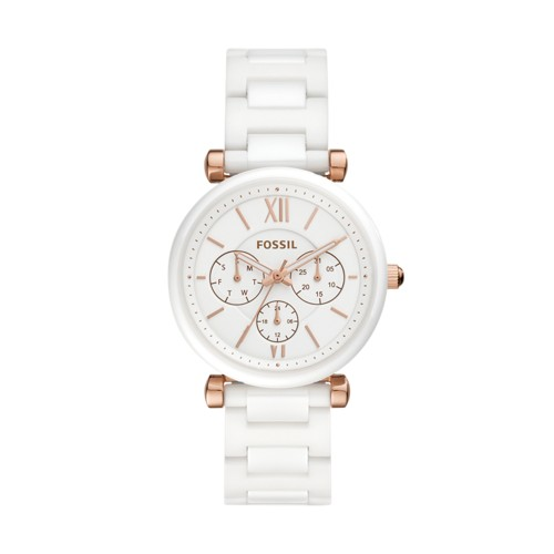 Fossil Carlie Multifunction White Ceramic Watch  jewelry