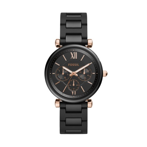 Fossil Carlie Multifunction Black Ceramic Watch  jewelry