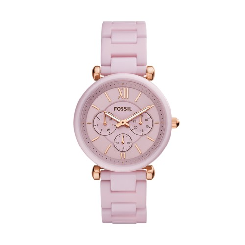 Carlie Multifunction Pink Ceramic Watch CE1102