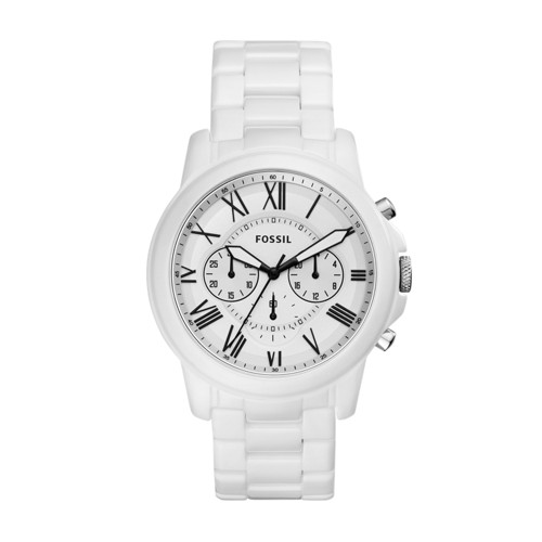 Fossil Grant Chronograph White Ceramic Watch  jewelry