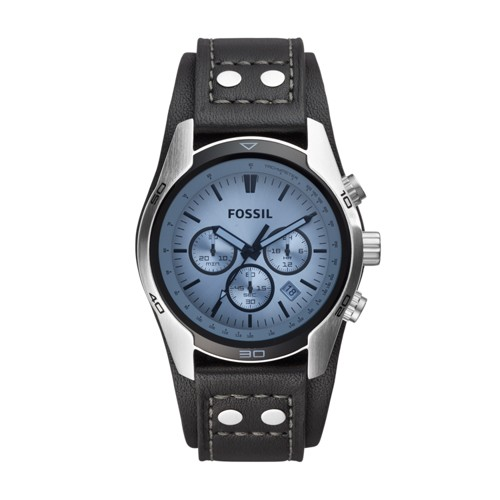 fossil Coachman Chronograph Black Leather Watch CH2564