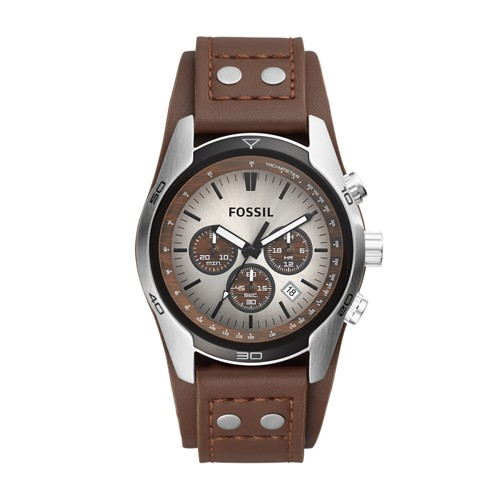 Fossil Cuff Chronograph Leather Watch Tan - CH2565