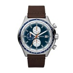 Dylan Leather Watch Brown Blue, Elegant Men's Dress Watches Fossil Discount CH2812