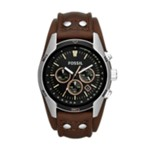 Coachman Chronograph Leather Watch - Brown Black, Fashionable Men's Casual Watches Fossil Discount CH2891