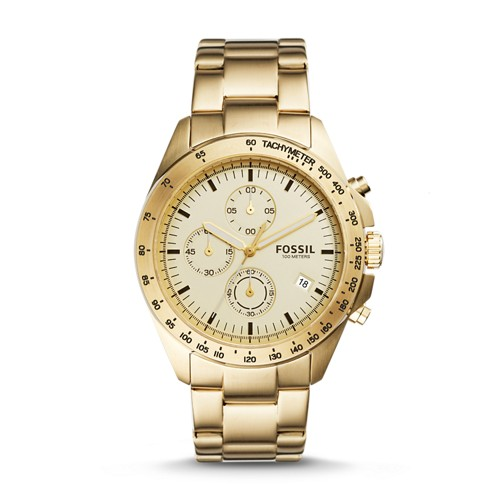 Fossil Sport 54 Chronograph Gold-Tone Stainless Steel Watch Ch3037
