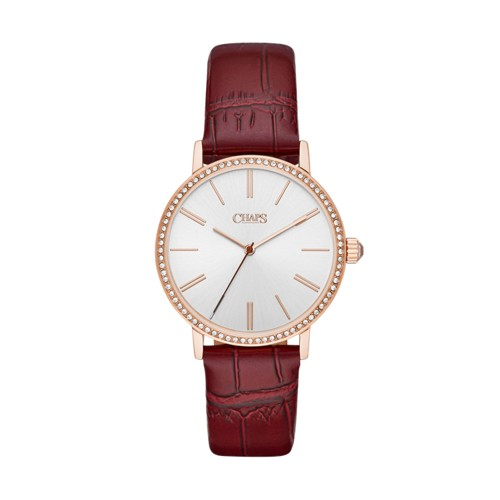 Chaps Chaps Women&Apos;S Whitney Three-Hand Red Leather Watch Chp2003 Jewelr..