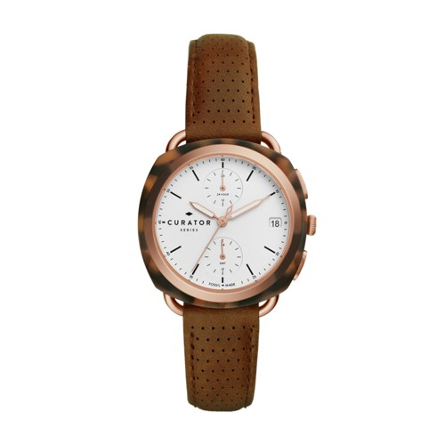 Fossil The Curator Series Fossil X Amber Interiors Multifunction Brown Leath..