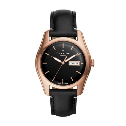 Fossil The Curator Series Fossil X Benjamin Vandiver Three-Hand Day-Date Bla..