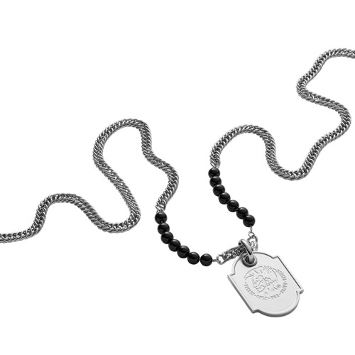 Diesel Diesel Men&Apos;S Stainless-Steel And Black Line Agate Bead Dog Tag P..