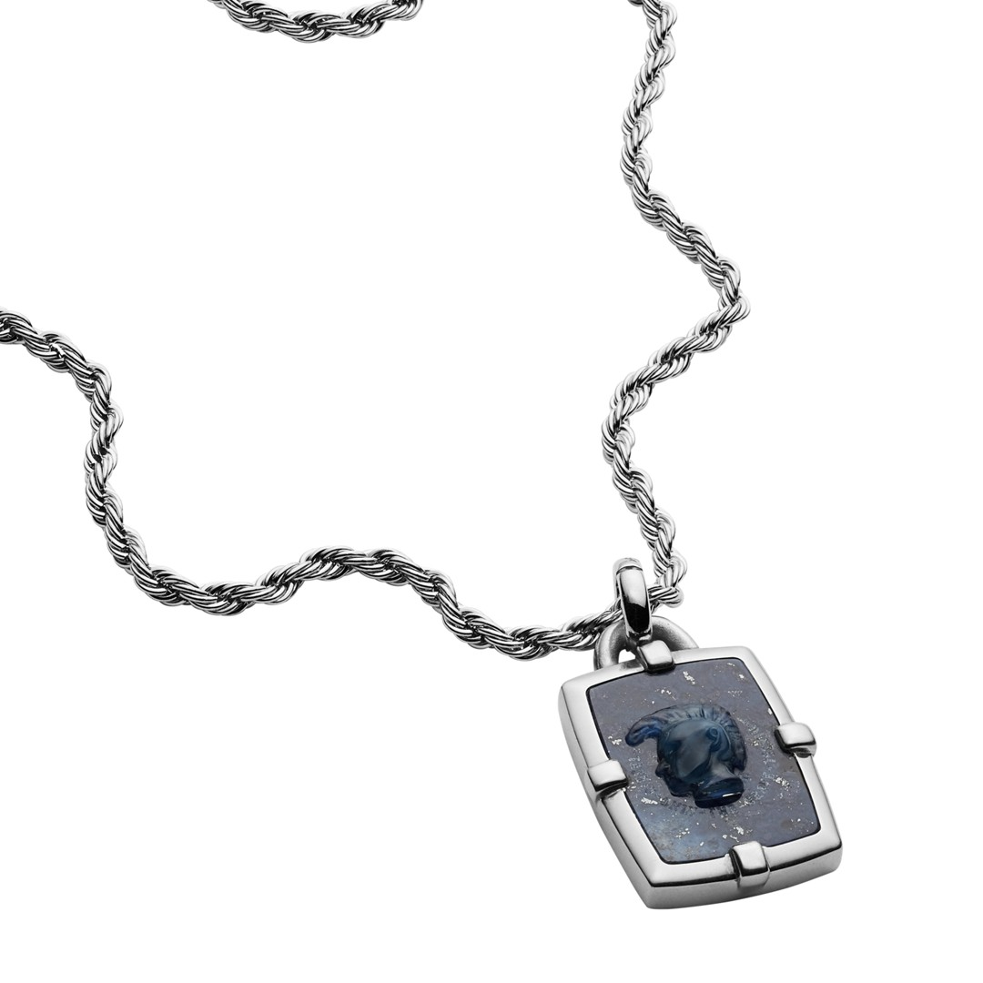 Diesel Diesel Men&Apos;S African Blue Stone Pendant Necklace Dx1191040 Jewelry - DX1191040-WSI