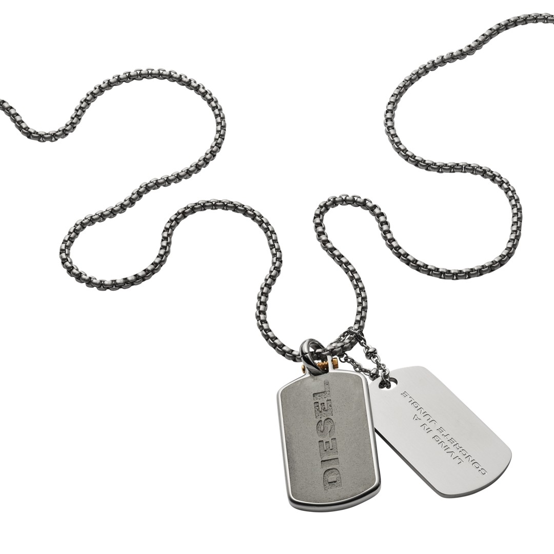 Diesel Engraved Stainless Steel And Concrete Double Dog Tag Necklace Dx1194040 Jewelry - DX1194040-WSI