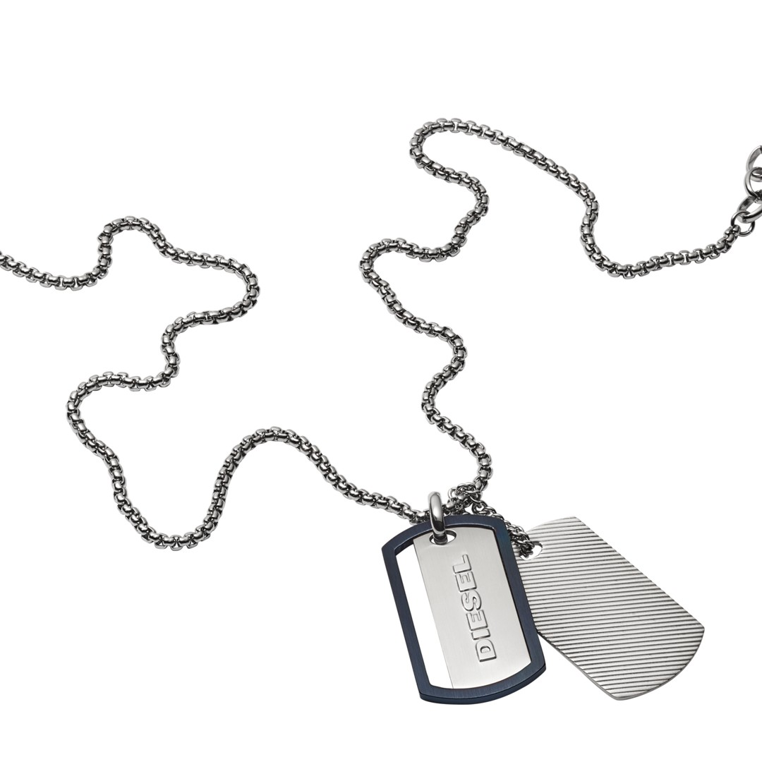 Diesel Engraved Stainless Steel Double Dog Tag Necklace Dx1197040 Jewelry - DX1197040-WSI