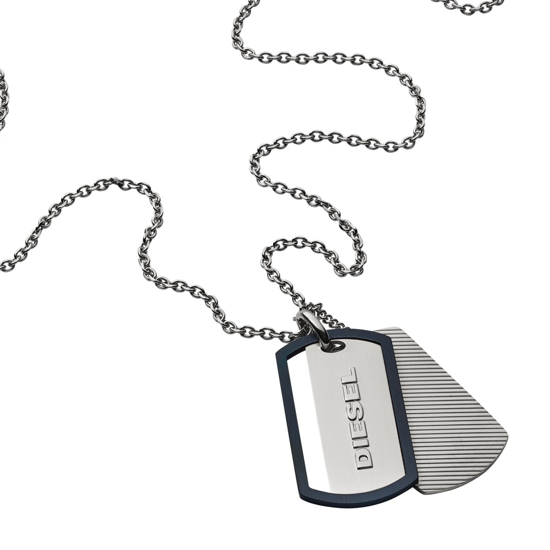 Diesel Engraved Stainless Steel Double Dog Tag Necklace Dx1198040 Jewelry - DX1198040-WSI