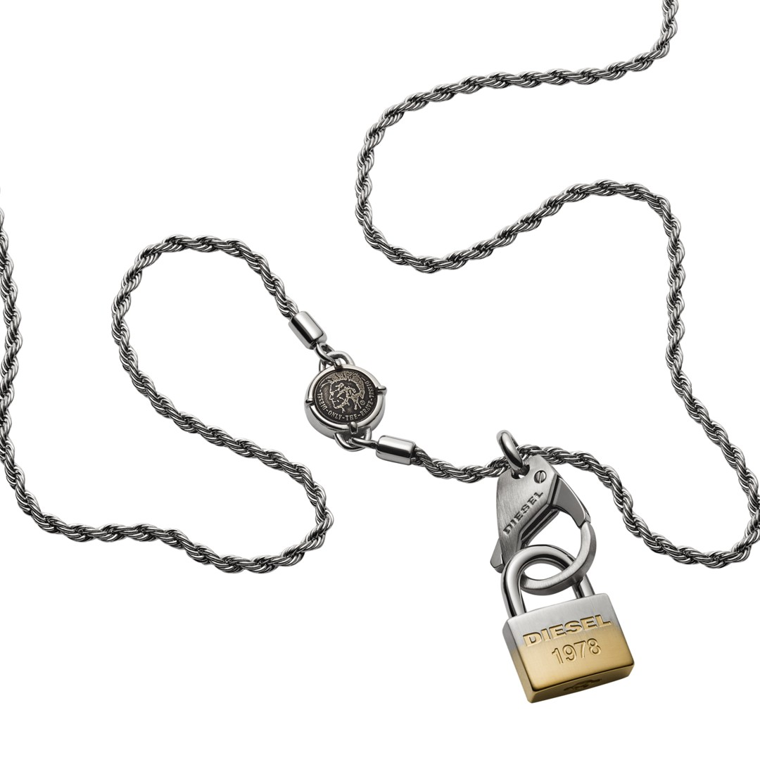 Diesel Lock Pendant Stainless Steel Necklace Dx1203040 Jewelry - DX1203040-WSI