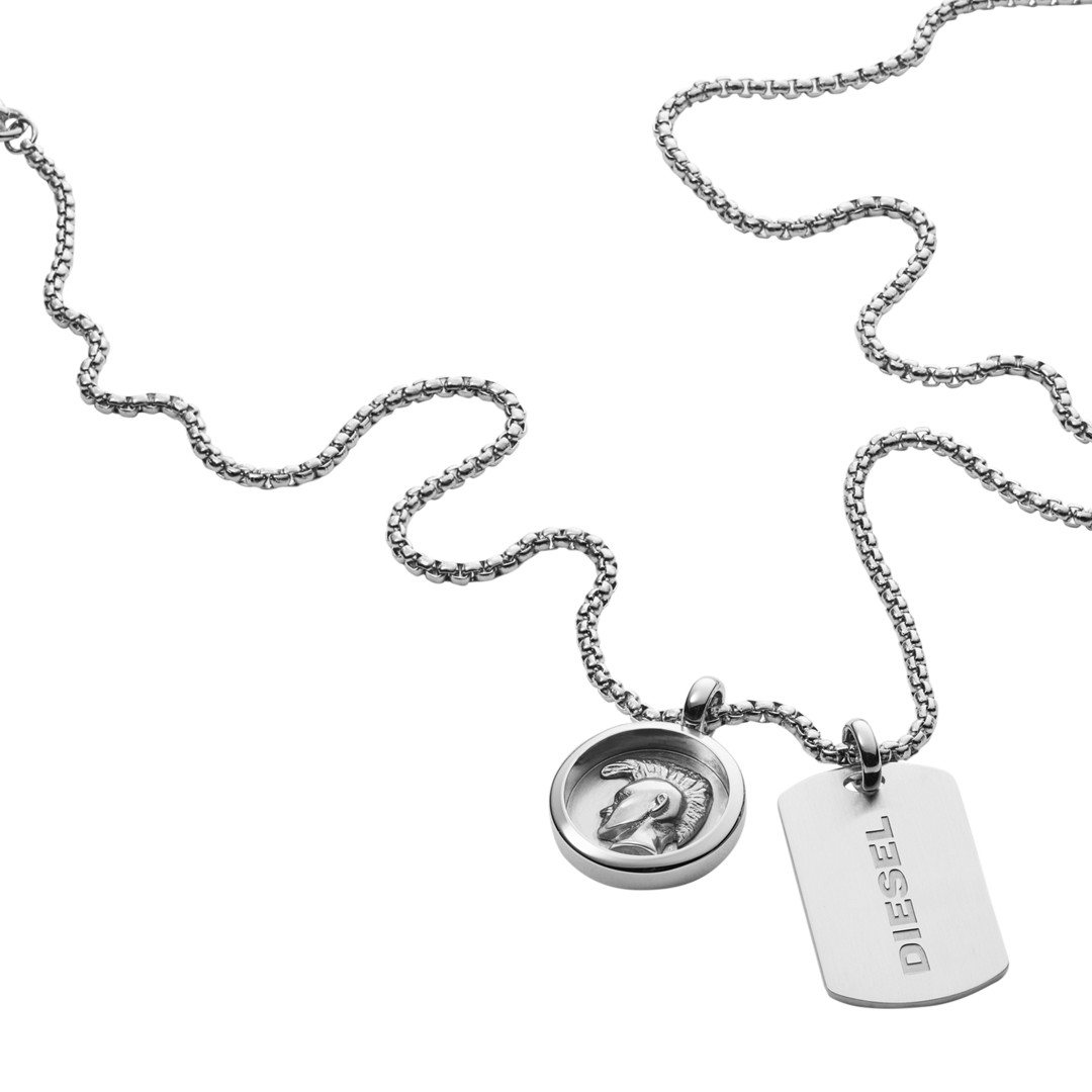 Diesel Stainless Steel Double Pendant Necklace Dx1209040 Jewelry - DX1209040-WSI
