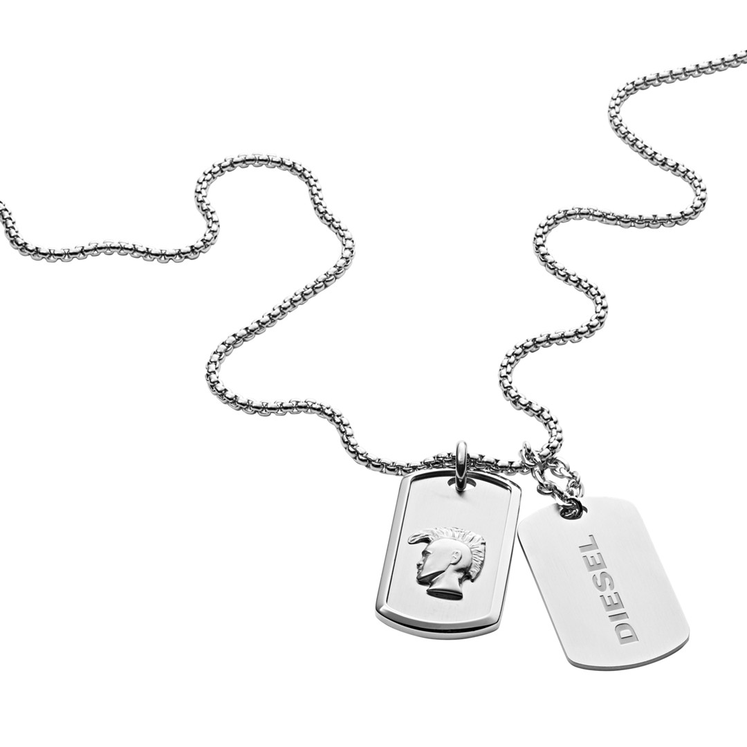 Diesel Stainless Steel Double Dog Tag Necklace Dx1210040 Jewelry - DX1210040-WSI