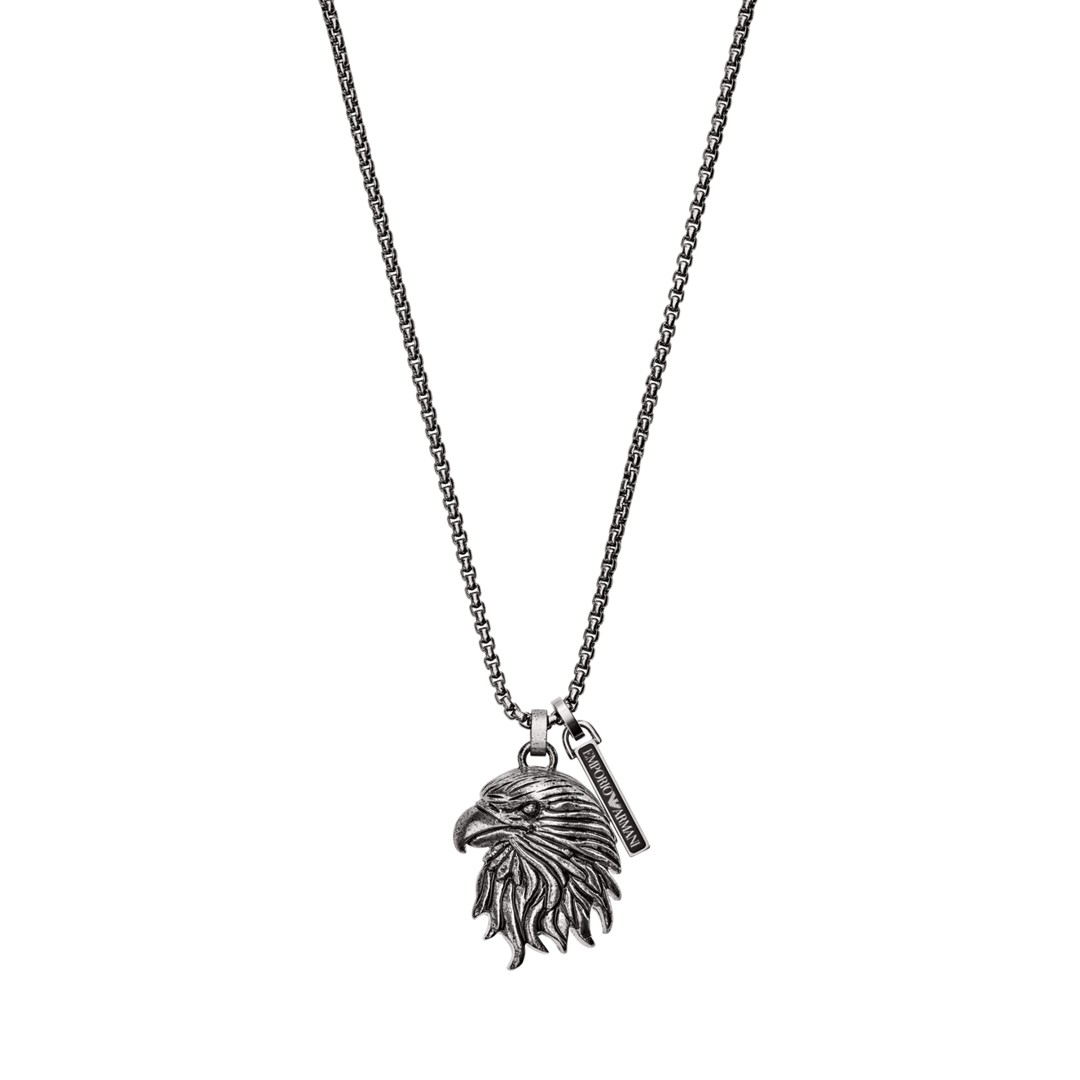 Emporio Armani Emporio Armani Men&Apos;S Eagle Head Stainless Steel Dog Tag Necklace Egs2658040 Jewelry - EGS2658040-WSI
