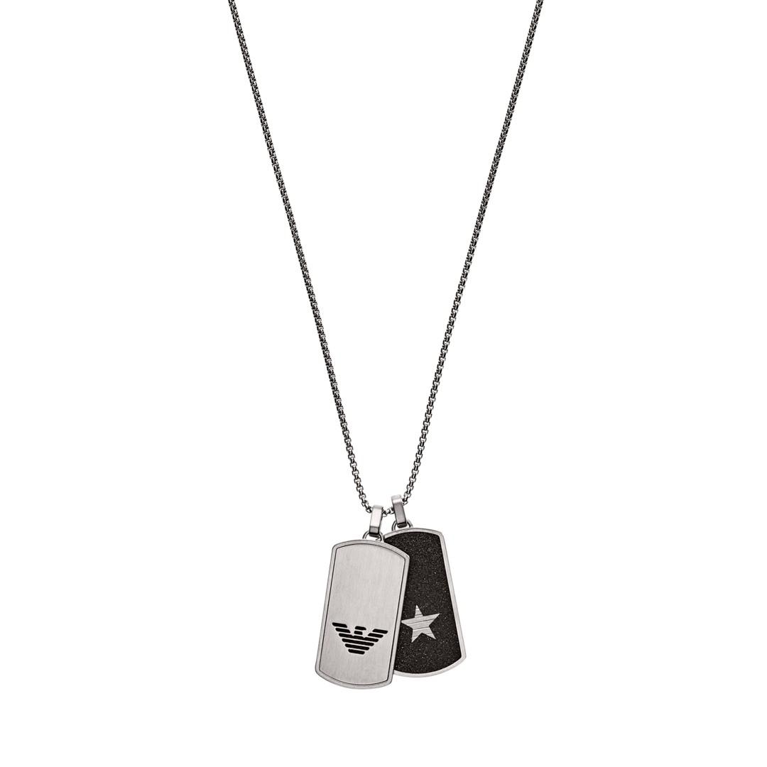 Emporio Armani Emporio Armani Stainless Steel Dog Tag Necklace Egs2675040 Jewelry - EGS2675040-WSI