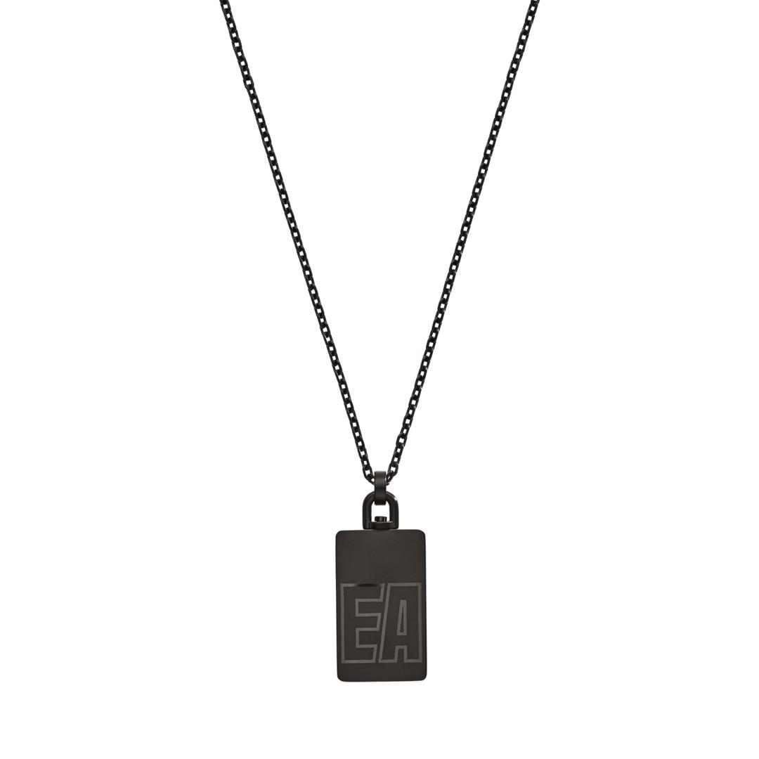 Emporio Armani Emporio Armani Reversible Gunmetal Stainless Steel Dog Tag Necklace Egs2677001 Jewelry - EGS2677001-WSI