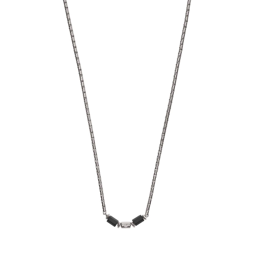 Emporio Armani Emporio Armani Gunmetal Stainless Steel Beaded Necklace Egs2680040 Jewelry - EGS2680040-WSI