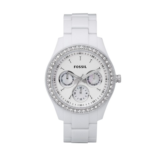 fossil Stella Multifunction White Resin Watch ES1967