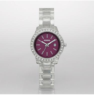 Fossil ES2611 Clear Stella Purple Analog Dial