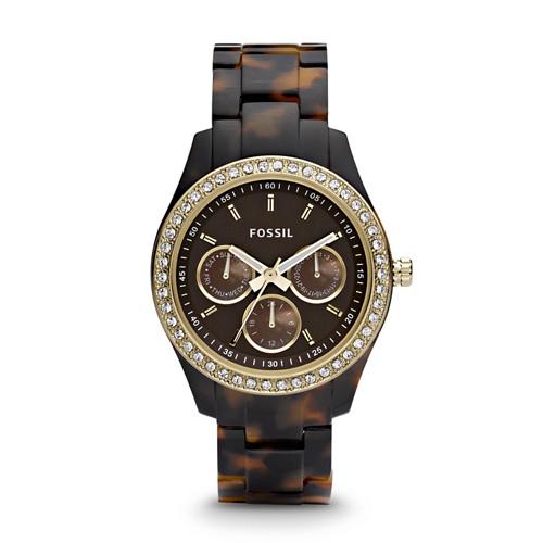 fossil Stella Multifunction Tortoise Resin Watch ES2795