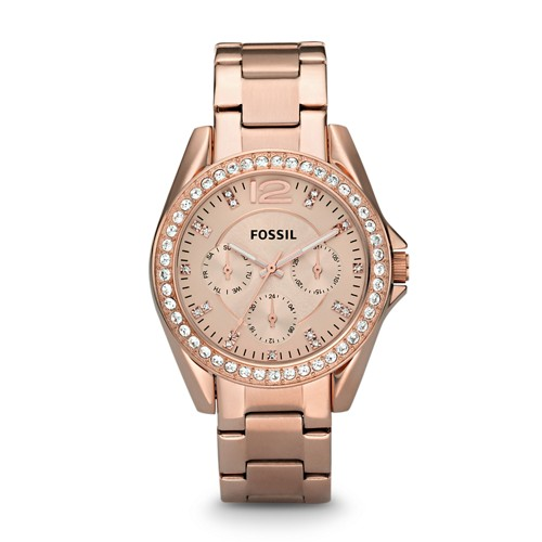 Riley Multifunction Rose-Tone Stainless Steel Watch ES2811