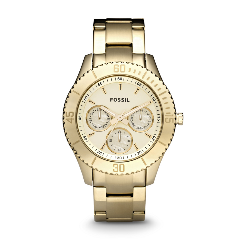 fossil stella stainless steel gold tone es2820