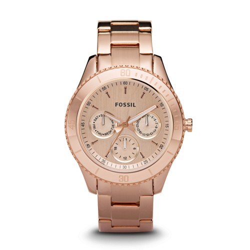 fossil Stella Multifunction Rose-Tone Stainless Steel Watch ES2859