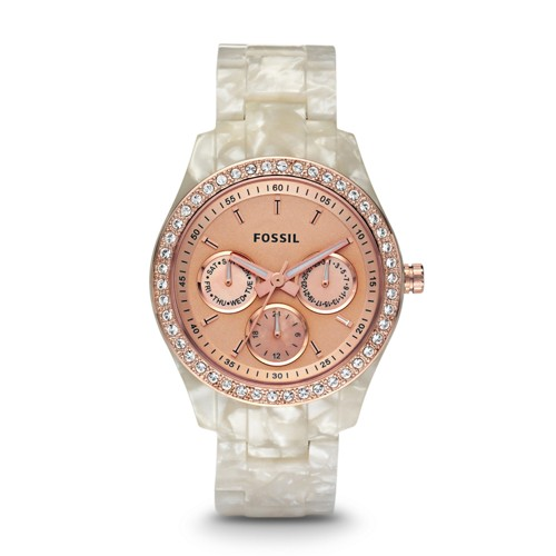 Fossil Stella Multifunction Resin Watch - Pearlized White with Rose - ES2887