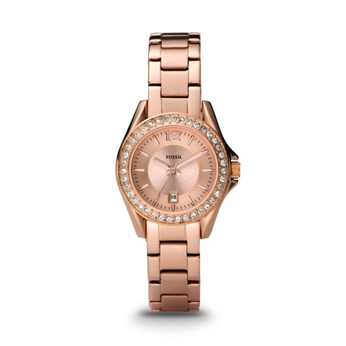 Fossil Riley Mini Three Hand Stainless Steel Watch - Rose
