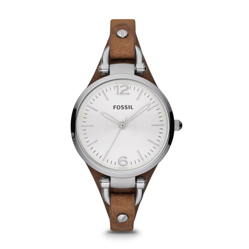 fossil Georgia Brown Leather Watch ES3060