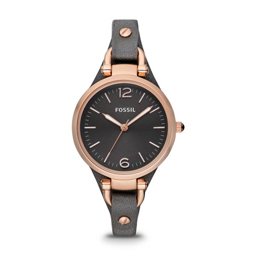 fossil Georgia Smoke Leather Watch ES3077