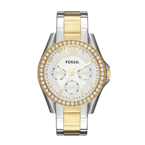 fossil Riley Multifunction Two-Tone Stainless Steel Watch ES3204