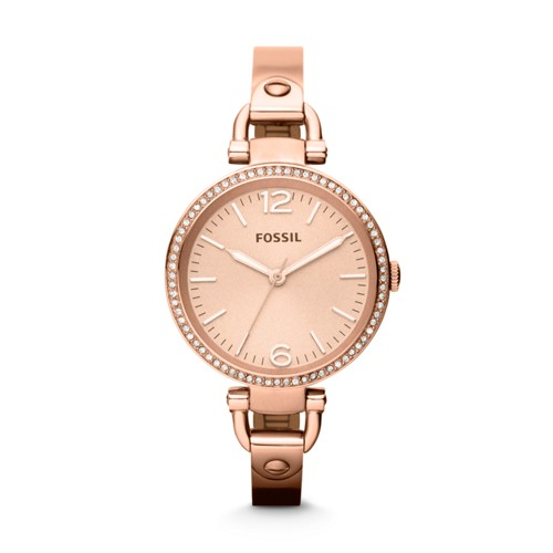 fossil Georgia Rose-Tone Stainless Steel Watch ES3226