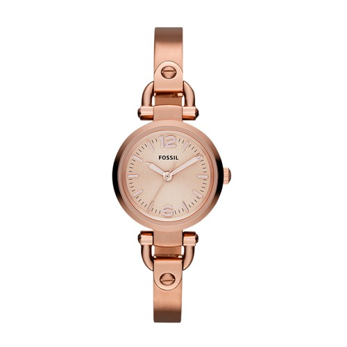 fossil Georgia Mini Rose-Tone Stainless Steel Watch ES3268