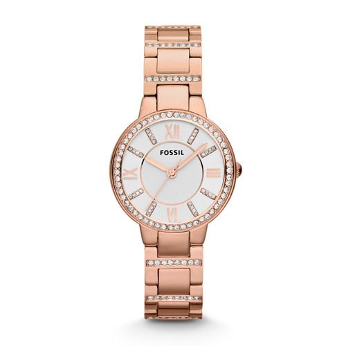 fossil Virginia Rose-Tone Stainless Steel Watch ES3284