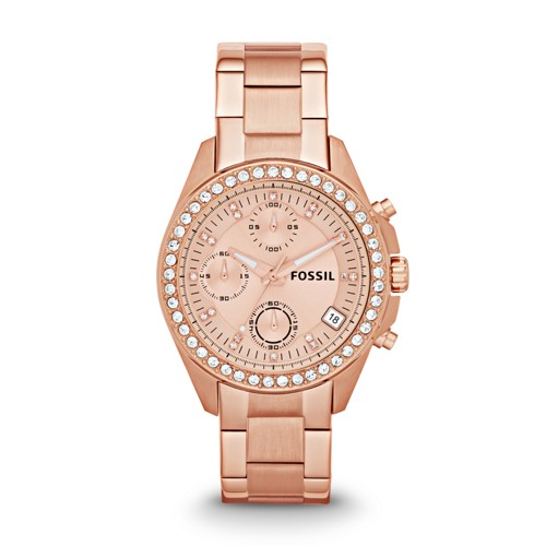 fossil Decker Chronograph Rose-Tone Stainless Steel Watch ES3352