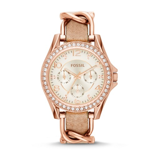 Fossil Riley Multifunction Rose-Tone &Amp; Sand Leather Watch Es3466