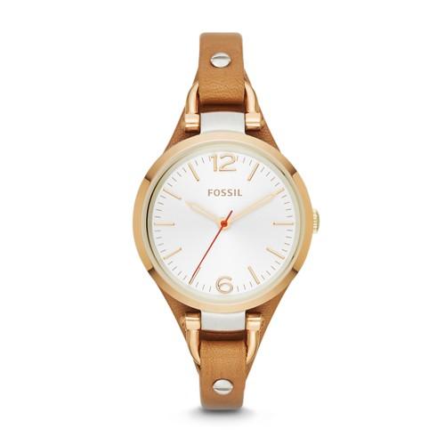 fossil Georgia Tan Leather Watch ES3565