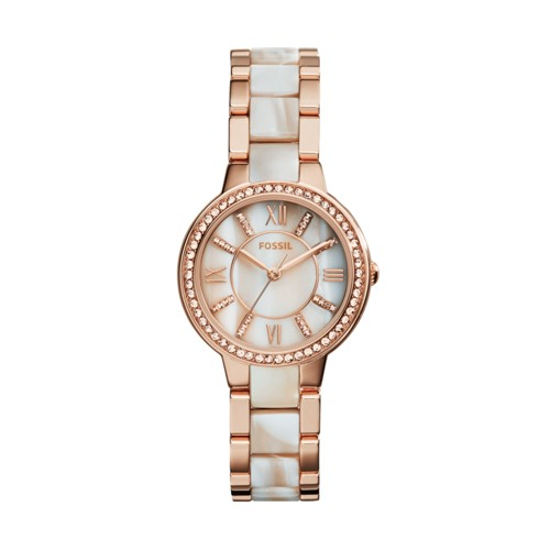 Fossil Virginia Rose-Tone & Horn Acetate Stainless Steel Watch ES3716