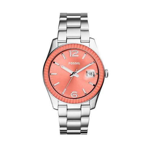 Fossil Perfect Boyfriend Three-Hand Date Stainless Steel Watch Es3729 Red