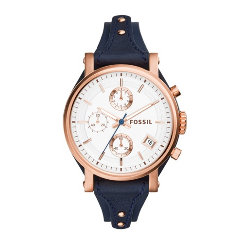 Fossil Original Boyfriend Chronograph Navy Leather Watch ES3838
