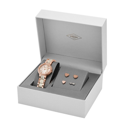 Fossil Virginia Three-Hand Stainless Steel Watch And Earring Set Es3965set J..
