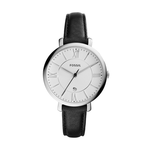 Fossil Jacqueline Three-Hand Date Black Leather Watch ES3972